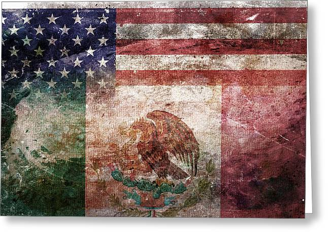 Tattered Greeting Cards - American Mexican Tattered Flag  Greeting Card by Az Jackson
