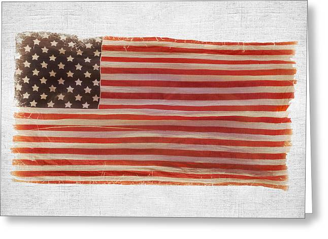 July 4th Pyrography Greeting Cards - American national flag on wall Greeting Card by Nerijus Juras