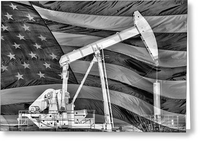 Beam Pump Greeting Cards - American Oil Greeting Card by JC Findley