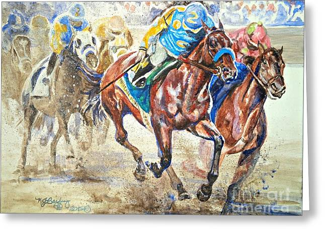 Race Horse Greeting Cards - American Pharoah and Firing Line Greeting Card by Nancy J Bailey
