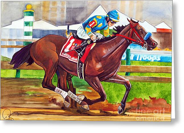 American Pharoah Greeting Card by Dave Olsen