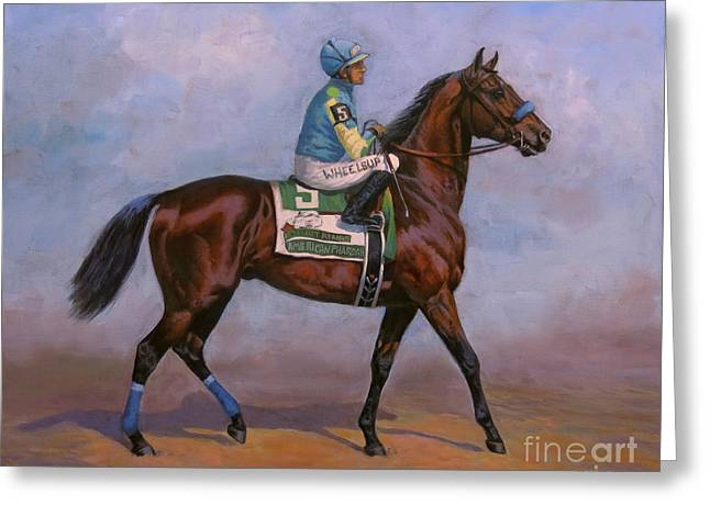 Race Horse Greeting Cards - American Pharoah Greeting Card by Jeanne Newton Schoborg
