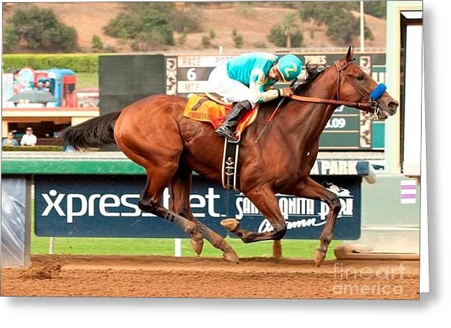 American Pharoah Race Horse Triple Crown Winner Greeting Card by Anthony Morretta