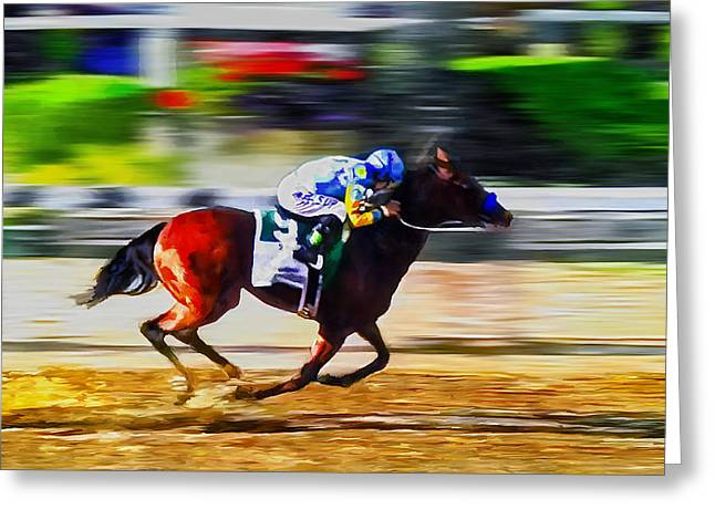 Belmont Stakes Greeting Cards - American Pharoah Greeting Card by Rick Mosher