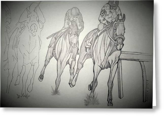 Tripple Greeting Cards - American Pharoah Greeting Card by Roesch