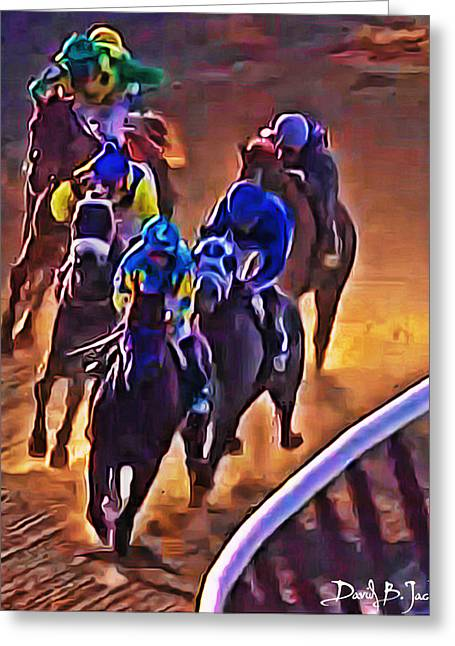 Race Horse Greeting Cards - American Pharoah Rounding the Final Turn at Belmont 2015 Greeting Card by David Jacobs