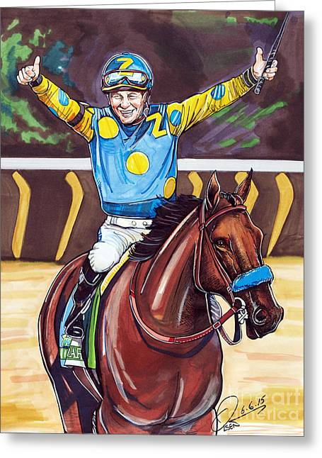 Belmont Stakes Greeting Cards - American Pharoah The Triple Crown Greeting Card by Dave Olsen