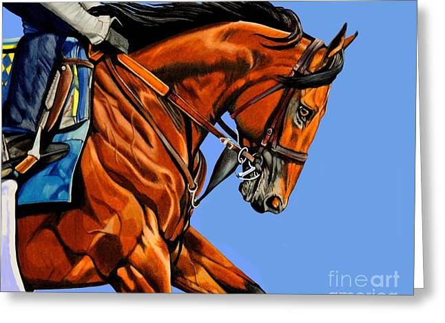 The Horse Greeting Cards - American Pharoah - Triple Crown Winner in Blue Greeting Card by Cheryl Poland