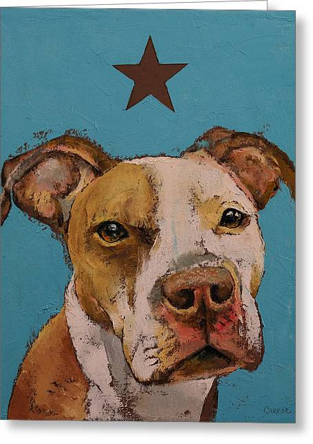 American Pit Bull Greeting Card by Michael Creese