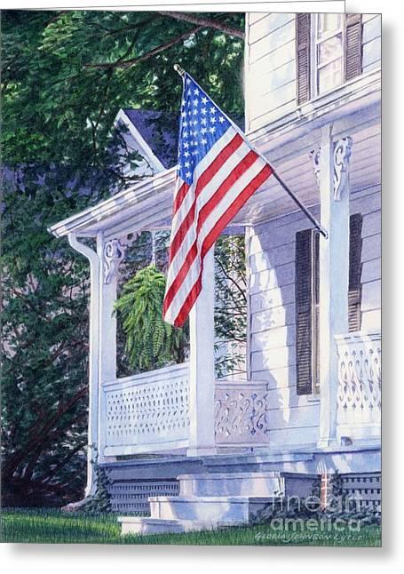 American Porch Greeting Card by Gloria Johnson