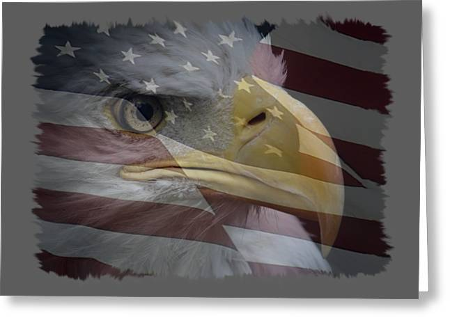 Eagle And Flag Greeting Cards - American Pride 3 Greeting Card by Ernie Echols