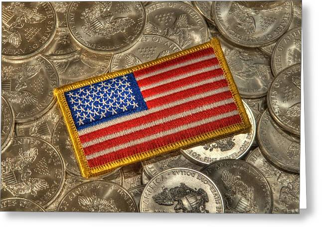 Coins Greeting Cards - American Pride Greeting Card by Twain and Denise Wilkins