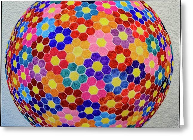 American Quilt Flower Ball Greeting Card by LeeAnn McLaneGoetz McLaneGoetzStudioLLCcom