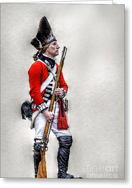 Militaria Greeting Cards - American Revolution British Soldier  Greeting Card by Randy Steele