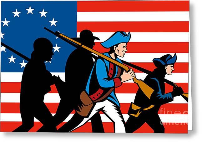 American Revolutionary Soldier Marching Greeting Card by Aloysius Patrimonio