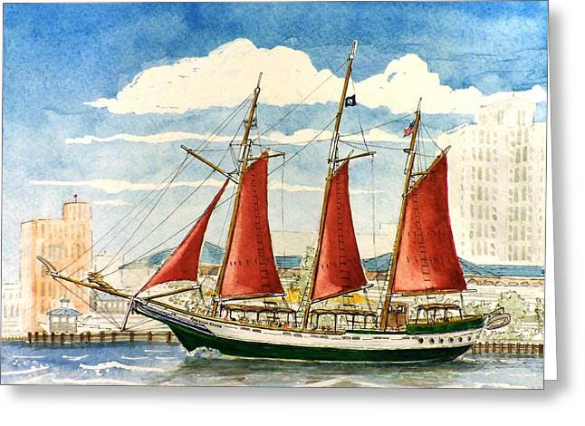Sailboat Greeting Cards - American Rover at Waterside Greeting Card by Vic Delnore