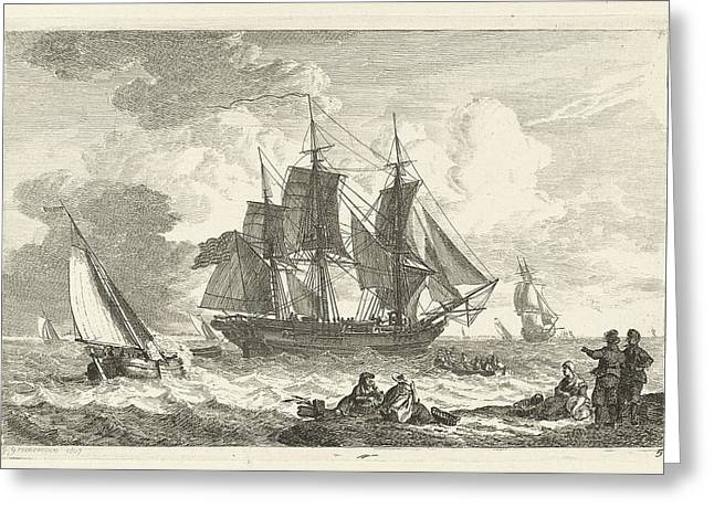 In Trouble Greeting Cards - American ship in troubled waters Greeting Card by Celestial Images