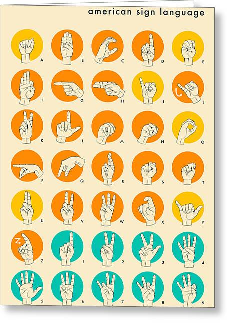 American Sign Language Greeting Cards - American Sign Language Hand Alphabet Greeting Card by Jazzberry Blue