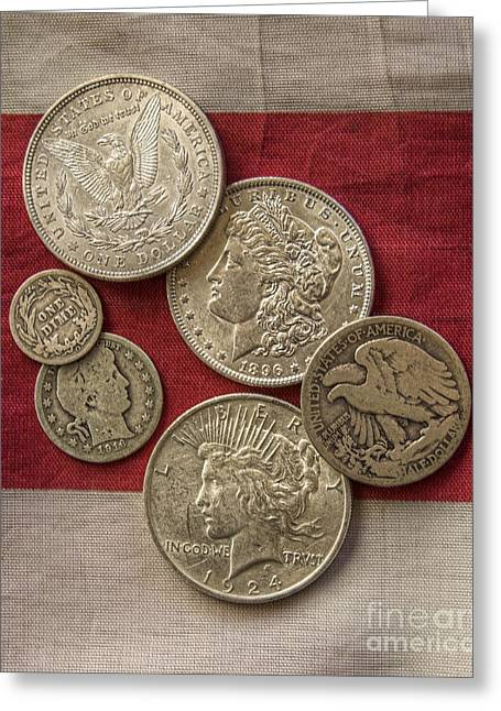 Silver Coins Greeting Cards - American Silver Coins Greeting Card by Randy Steele
