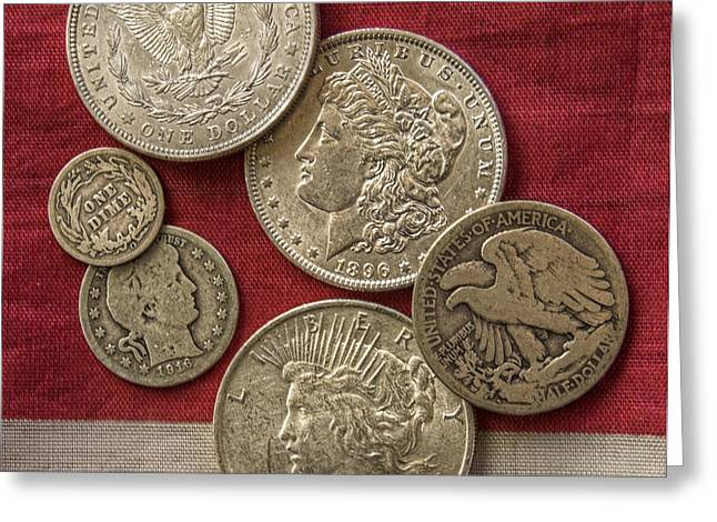 American Silver Coins Greeting Card by Randy Steele