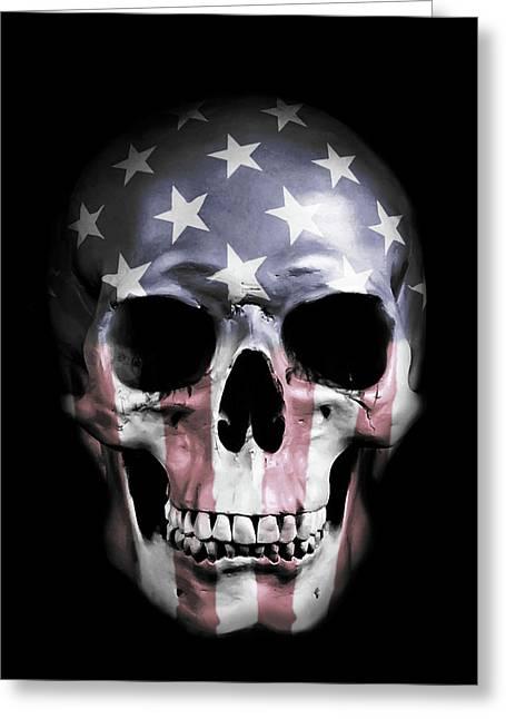 American Skull Greeting Card by Nicklas Gustafsson