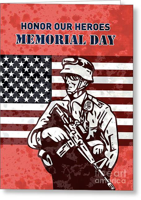 Serviceman Greeting Cards - American solider serviceman with flag  Greeting Card by Aloysius Patrimonio