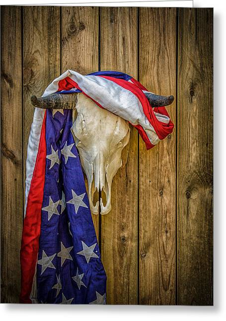 Outbuildings Greeting Cards - American Southwest Flag and Skull Greeting Card by Mike Burgquist