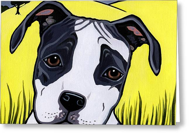 Pictures Of Dogs Greeting Cards - American Staffy Greeting Card by Leanne Wilkes