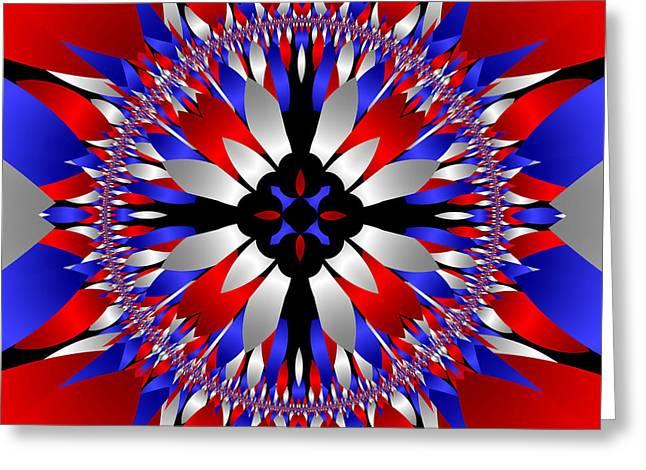 4th July Digital Art Greeting Cards - American Starburst Mandala Greeting Card by Patricia Fatta