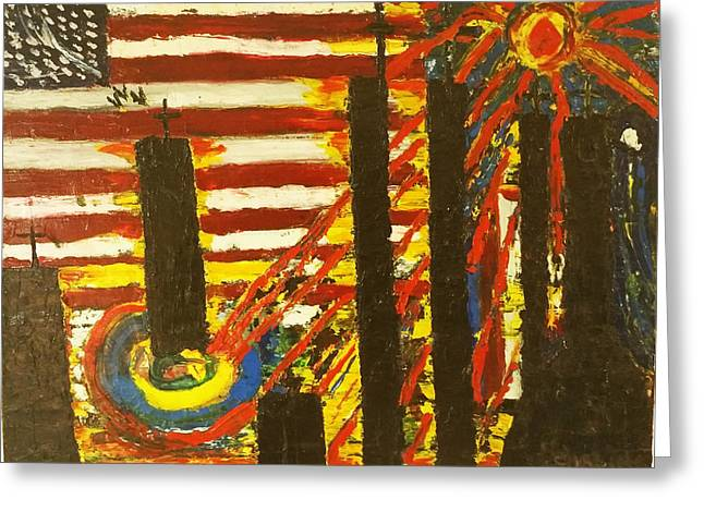 Police Force Of New York Greeting Cards - American Trilogy 9/11 Memorial #2 Greeting Card by Ronald Carlino Jr