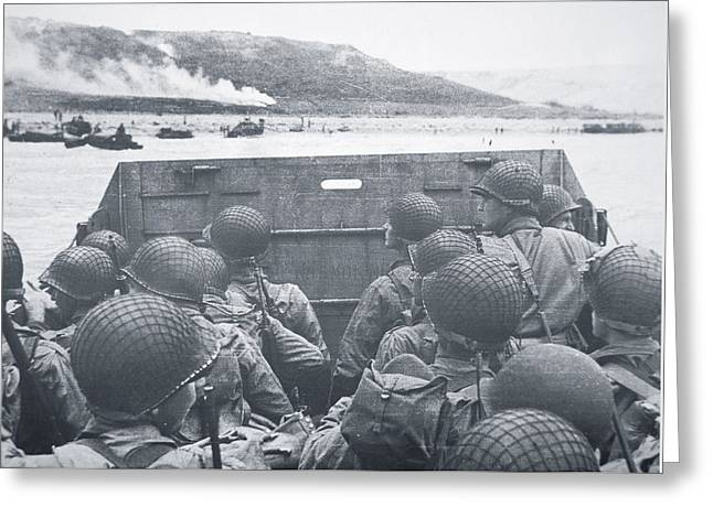American Troops In Landing Craft Head For Omaha Beach, 6th June 1944 Greeting Card by American School