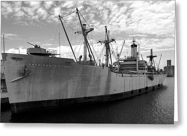 Historic Ship Greeting Cards - American Victory Ship Tampa Bay Greeting Card by David Lee Thompson