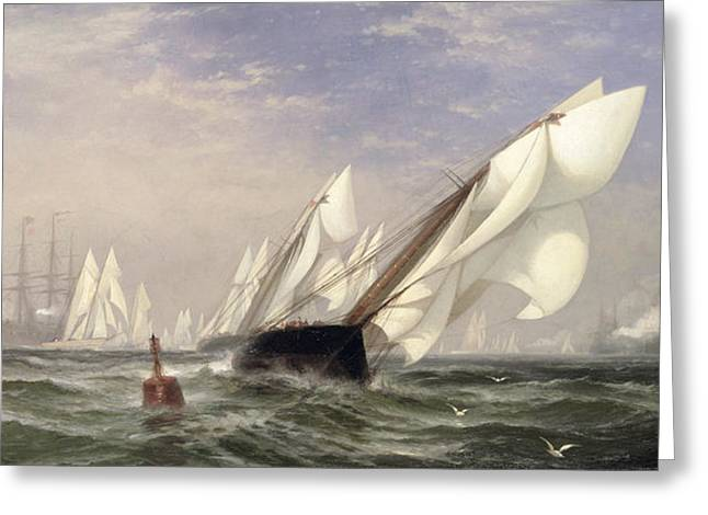 American Yacht Sappho Winning The Race With The English Yacht Livonia For The Americas Cup Greeting Card by Edward Moran