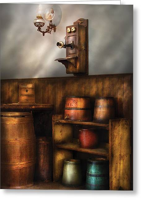 Americana -  In The Corner Of The General Store  Greeting Card by Mike Savad