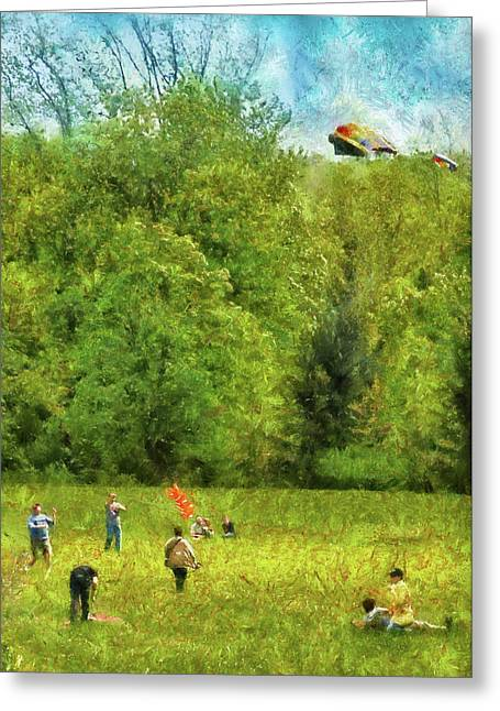 Kites Greeting Cards - Americana - People - Lets go fly a kite Greeting Card by Mike Savad