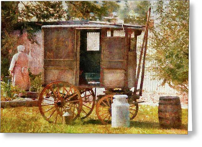 Customizable Greeting Cards - Americana - The Milk and Egg wagon  Greeting Card by Mike Savad