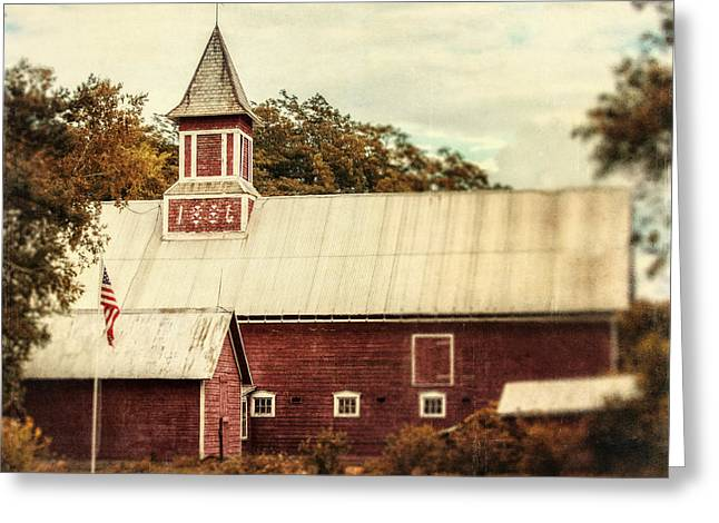 Weathervane Greeting Cards - Americana Barn Greeting Card by Lisa Russo
