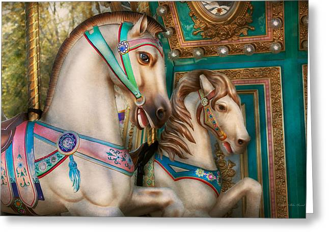 Americana - Carousel Beauties Greeting Card by Mike Savad