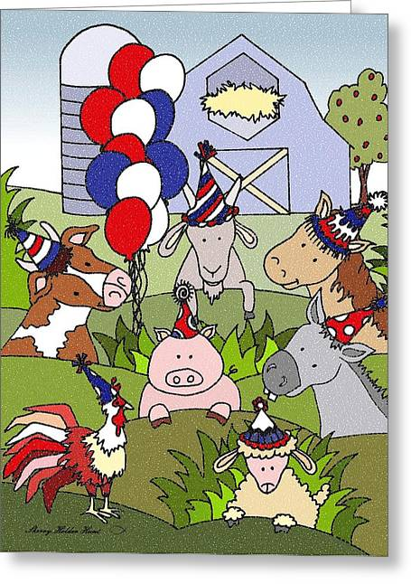 Donkey Mixed Media Greeting Cards - Americana Country Life Party Greeting Card by Sherry Holder Hunt