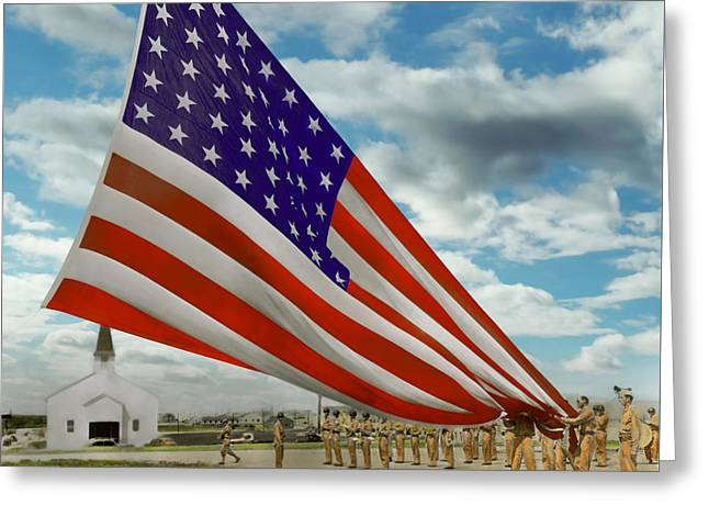 4th July Greeting Cards - Americana - Fort Hood Texas - Unfolding the flag 1944 Greeting Card by Mike Savad