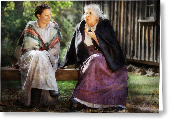 Americana - People - Everything Was Better In The The Old Country Greeting Card by Mike Savad