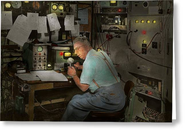Mechanical Revolution Greeting Cards - Americana - Radio - The conspiracy expert - 1948 Greeting Card by Mike Savad