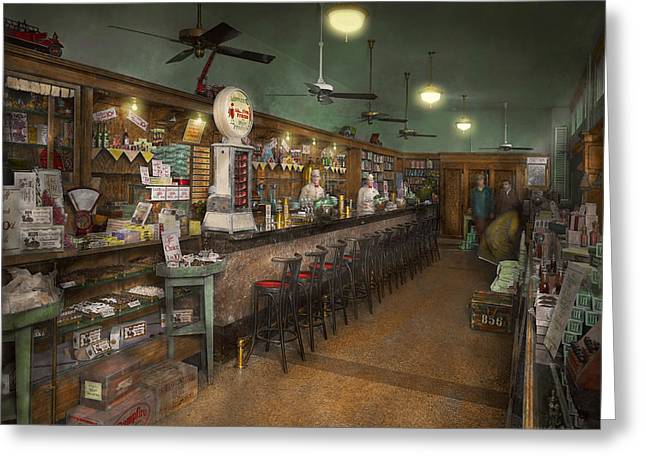 Colorization Greeting Cards - Americana - Soda - The peoples soda fountain 1928 Greeting Card by Mike Savad
