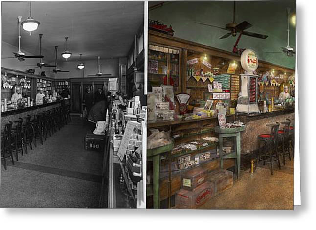 Display Case Greeting Cards - Americana - Soda - The peoples soda fountain 1928 - Side by side Greeting Card by Mike Savad