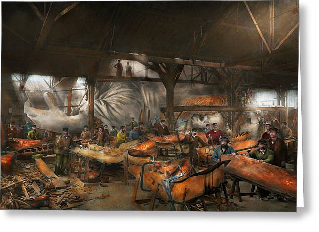 Table Greeting Cards - Americana - The creation of Liberty - 1882 Greeting Card by Mike Savad