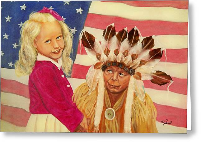 Kids Greeting Cards - Americans new and old Greeting Card by Joni McPherson