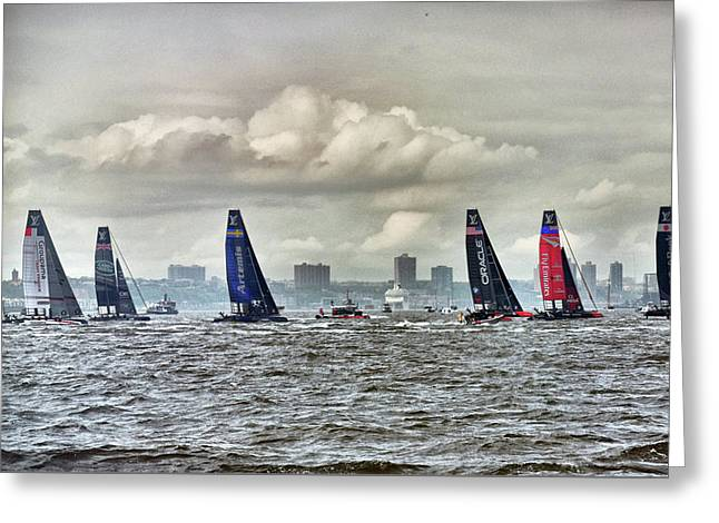 America's Cup Contestants In New York Harbor, May 2016 Greeting Card by Sandy Taylor