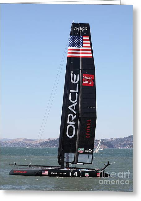 Americas Cup Greeting Cards - Americas Cup in San Francisco - Oracle Team USA 4 - 5D18225 Greeting Card by Wingsdomain Art and Photography