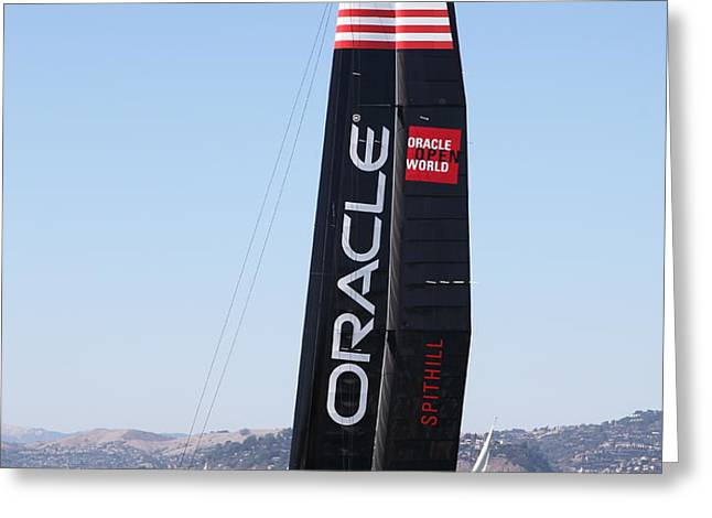 America's Cup in San Francisco - Oracle Team USA 4 - 5D18225 Greeting Card by Wingsdomain Art and Photography