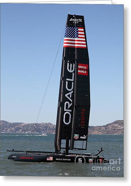 Americas Cup Greeting Cards - Americas Cup in San Francisco - Oracle Team USA 5 - 5D18246 Greeting Card by Wingsdomain Art and Photography